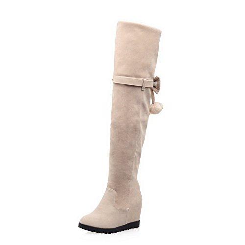 AllhqFashion Damen Mattglasbirne Hoher Absatz Rein Mitte-Spitze Reißverschluss Stiefel, Cremefarben, 36