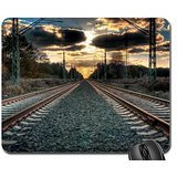 amazing straight train tracks hdr Mouse Pad, Mousepad