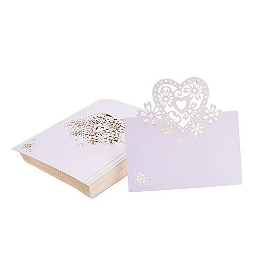 Kmall 50 Stück rosa Herz Blanko Karten Tischkartehalter für Gast, Verlobung, Geburtstag, Hochzeit, Geburt, Taufe, Weihnachten, Hochzeit, Bankett, Champagner, Dekoration, Party, Gastgeschenk.