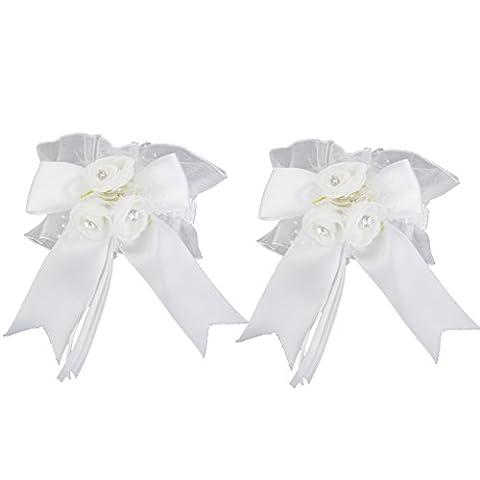 Wedding Bride Groom Glasses Champagne Flutes Cover Decoration Flower Bowknot 2pcs