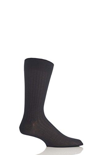 Herren 1 Paar Pantherella gerippte Socken aus Merinowolle - Schwarz 47-49 (Denken Panther)