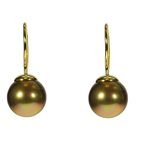 Muschelkernperlen-Ohrhaken in Tahiti-Perlen-Optik, gold-braun-rosée, Ø ca. 12 mm. -