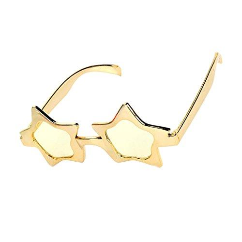 Sharplace Glitzer Gold Partybrille Sonnenbrille Spaßbrille Sterne Brille Star Sunglasses Funbrille für Kostüm Party Club Tanz Props