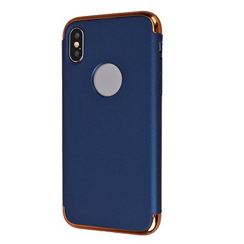 iPhone X Hard Hülle, Asnlove 3 in 1 Hart PC Anti-Scratch FeinMatt FederLeicht Hülle Bumper Cover Schutz Tasche Schale Hardcase für Apple iPhone 10 / iPhone X 5.8 Zoll 2017 - Golden Blau