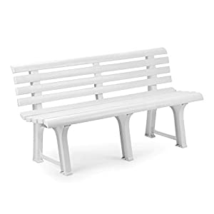 Mojawo Exclusive Gartenbank | 3 Sitzer | Kunststoff | strapazierfähig | 145x49x74 cm | Parkbank Bank Balkonbank…