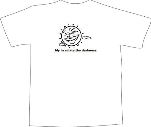 T-Shirt E1239 Schönes T-Shirt mit farbigem Brustaufdruck - Logo / Grafik / Design - Sonne mit lachendem Gesicht und Wolken Schwarz