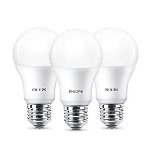 Philips LED Lampe, Standardform, ersetzt 9W, E27, Warmweiß (2700 Kelvin), 806 Lumen, 3er Pack