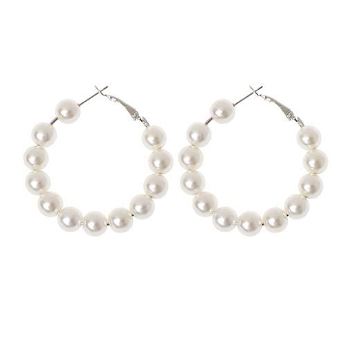 Guangtian Damen Ohrringe Elegante Weiße Perlen Creolen Frauen Übergröße Perle Kreis Modeschmuck