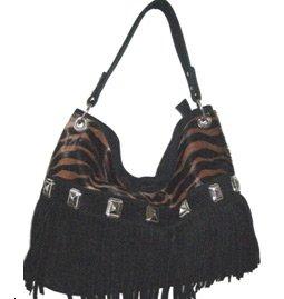 Real Leather Totebag Zebra stripe, studded tassle design RRP£79.99