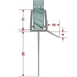 Duschdichtung gebogen Runddusche Schwallschutz Streifdichtung Ersatzdichtung Wasserabweiser Viertelkreis extra lange Dichtlippe 2 m für 4-8 mm Glasstärke