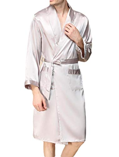 CuteRose Mens Charmeuse Plus Size Loose Fit Comfy Nightgown Spa Robe Argent 4XL (Plus Size Robe)