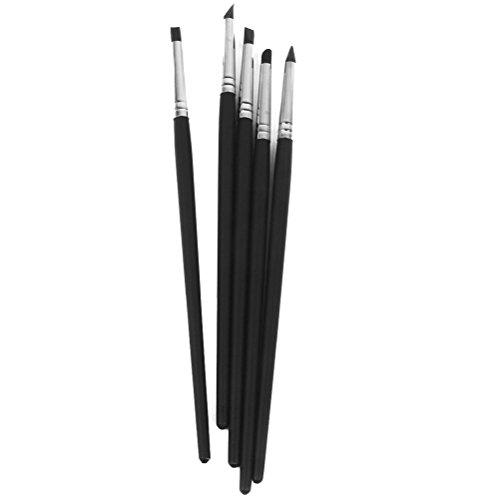 Winomo Silikonpinsel-Set für Fimo, Ton, Bildhauerei, Former, Wischwerkzeug, flexible Pinsel, 5-teilig - Flexible Pinsel