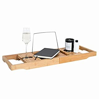 Bamboo Wooden Over Bath Tray Caddy Rack Shelf Tablet + Phone + Wine Glass Holder