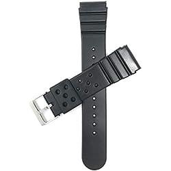 Bandini 22mm en Caoutchouc Noir Sports Bracelet de Montre pour modèles Seiko Diver et Plus