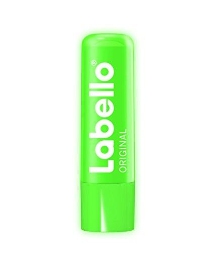 Labello Original Neon Limited Edition, Lippenpflegestift leuchtet im UV-Licht, 4er Pack (4 x 4,8 g)
