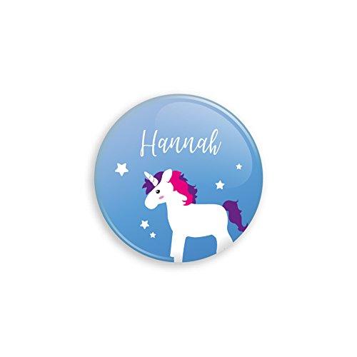 Werbewas Unicorn Button als Anstecker mit Nadel oder Magnet für Zuhause oder als Geschenk und Mitgebsel - 38mm mit Sicherheitsnadel-Verschluss an der Rückseite - Motiv Einhorn