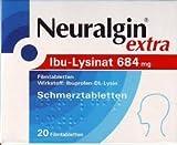 Neuralgin extra Ibu-Lysinat Schmerztabletten Spar-Set 5x20Tabletten, einzunehmen bei leichten bis mäßigen Schmerzen wie Kopfschmerzen, Zahnschmerzen, Regelschmerzen und Fieber