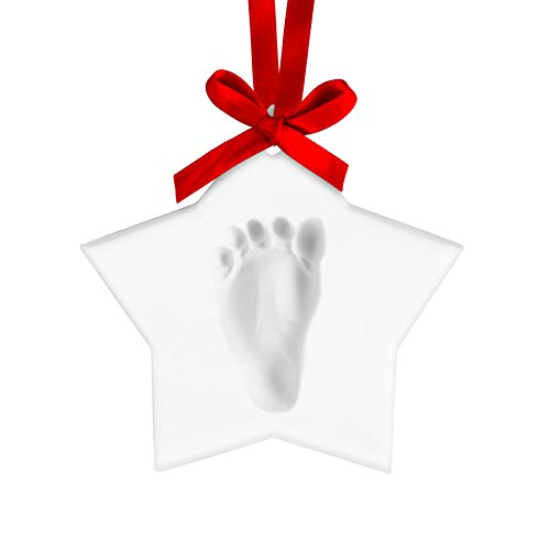 Pearhead 50012 - Babyprints Christmas Ornament Star - Handabdruck, weiß