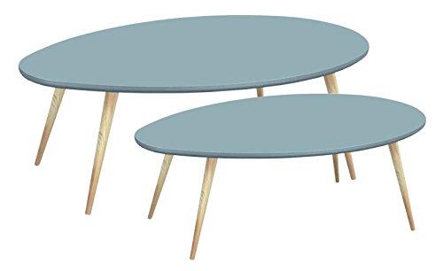 Tosel SARA, Tables Gigogne Ovale, Bois Massif, Naturel, 98 x 61 x 39 cm
