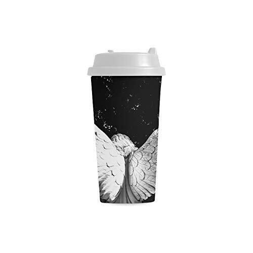 Benutzerdefinierte Kaffeetasse Engelsflügel Engelsflügel Gott Religion Friedhof 16 Unzen Doppelwandige Plastikbecher Pendler Reise Kaffeetassen Für Frauen Trinken Sport Wasser Plastikbecher Kinder