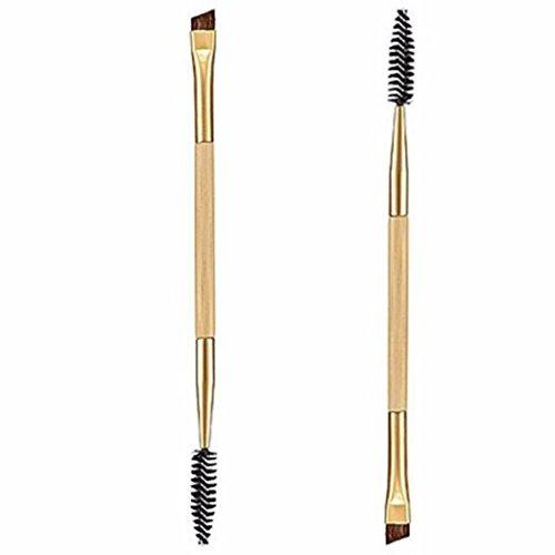 Grosses Soldes!!! ❤️ ♬♬ ❤️ LMMVP 1PCS Maquillage Bambou Poignée Double Sourcils Brosse + Peigne Sourcils (1PCS, Jaune)