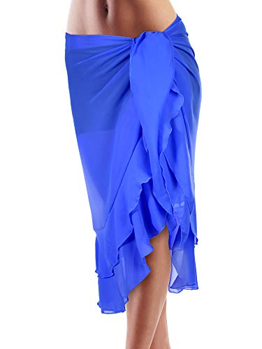 Hestya donne copricostume spiaggia wrap chiffon bikini gonna increspatura avvolge sarong (blu 1-doppio strato, 66,9 x 32,3 pollici)