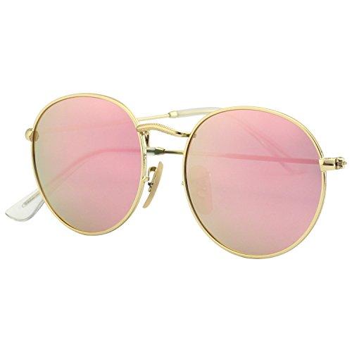 CGID Kleine Retro Vintage Sonnenbrille, inspiriert von John Lennon, polarisiert mit rundem Metallrahmen, für Frauen E01