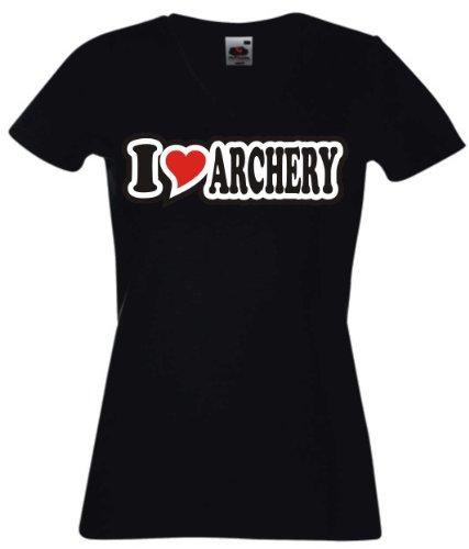 T-Shirt Damen - I Love Heart - V-Ausschnitt I LOVE ARCHERY Schwarz