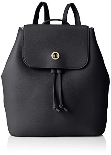 Tommy Hilfiger Damen Charming Tommy Backpack Rucksack, Schwarz (Black & Warm Sand) 15x30.5x28 cm