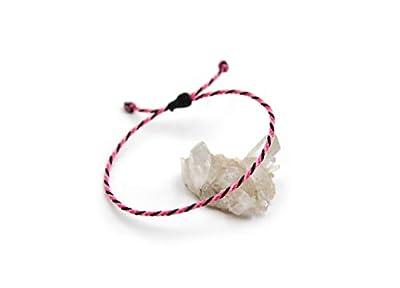 Bracelet Rose Fuchsia Rose Bonbon & Noir Corde Simple | Fin Cordon Souple de 2 mm | Tressé Avec Du Fil Ciré | Ajustable Unisexe et Résistant à l' Eau | Réf.#Tri1