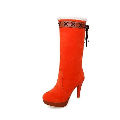 AgooLar Damen Ziehen Auf Hoher Absatz Rein Mitte-Spitze Stiefel mit Knoten Orange