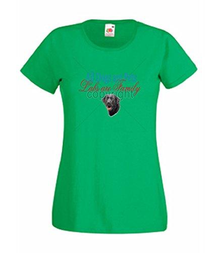 Simply Tees Einfach Tees Alle Hunde Sind Pets Labs Sind Familie Damen-T-Shirt Gr. XXX-Large, Kelly Green (Frauen Fashion Green Lab)