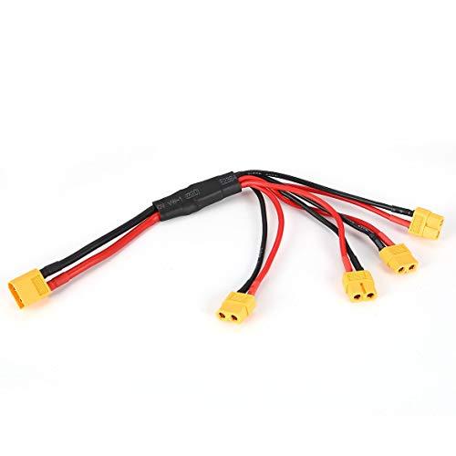 JohnJohnsen XT60 Plug Maschio a 4 XT60 connettore Femmina connettore Filo convertitore di Cavo di Ricarica Multi Spina del Cavo per la RC Quadcopter (Nero e Rosso)