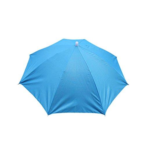 Malloom Novedad plegable Paraguas de cabeza sombrero para el sol y la lluvia, para golf, pesca y acampada (Azul)