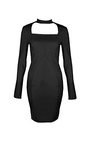 Damen Schwarz Tall Beth Bandagenkleid Mit Kragen-cutout Schwarz