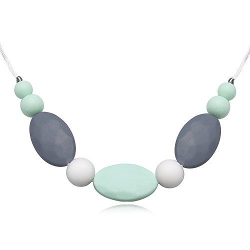 Yazilind Frauen Schmuck Mode böhmischen Stil Silikagel Anhänger Seil Kette Halskette für idear Geschenk (grau + grün)