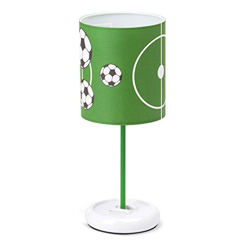 Lampada da tavolo a LED, paralume con motivo calcio, altezza: 32 cm, diametro 12 cm, 0,72 W, a LED integrati, in plastica e metallo, verde