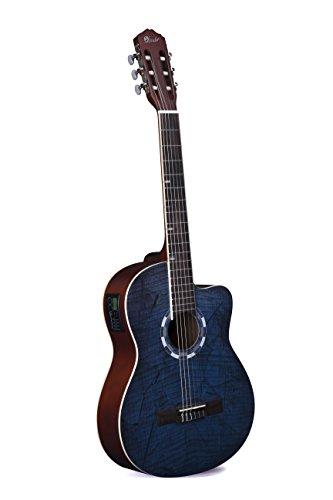 Lindo Standardgröße Elektro-Akustische Konzertgitarre/ Klassikgitarre (im natürlichem Hochglanz) mit Gitarrentasche - Elektro Nylon-gitarre Akustische