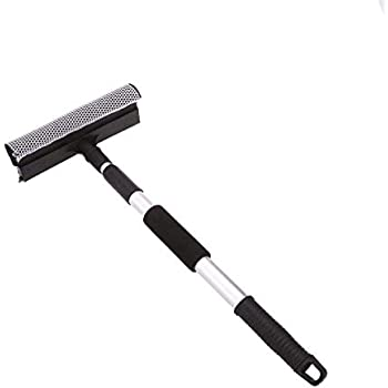 Heroic Extendable Solid Handheld Vehicle Glass Cleaning Squeegee Wiper with Sponge (Standard Size, Blue and Black)