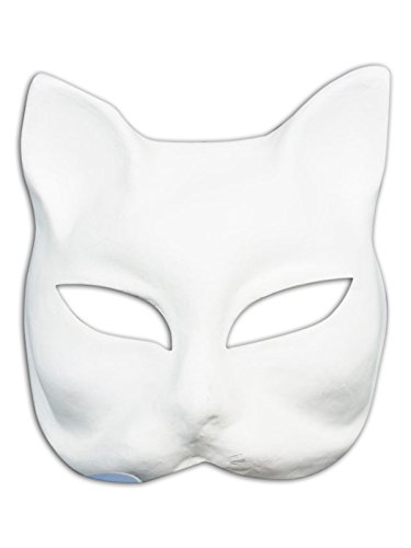 ace Blankopapier Mache Maske Gato Do It Yourself für Männer und Frauen (Weiß Do It Yourself Maske)
