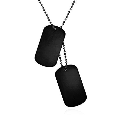 JewelryWe Schmuck Herren Dog Tag Halskette mit kostenloser Gravur, Edelstahl 2 Hochglanz Poliert Erkennungsmarken Dog Tags Anhänger mit 60cm Kette, Schwarz