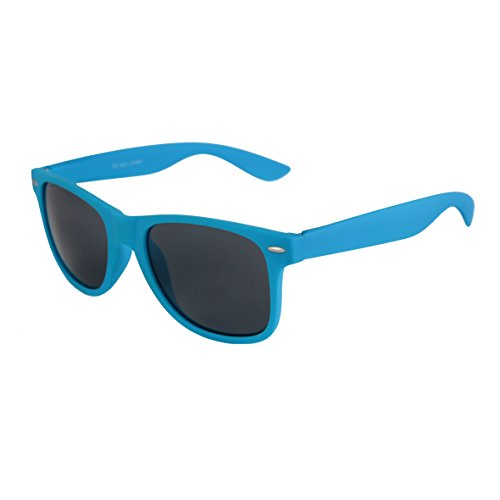 NEUF haute qualité Nerd Wayfarer Lunettes de soleil Gomme en Style Rétro Vintage Unisexe Lunettes avec Charnière à ressort de couleur Cadre Bleu Clair - Fumé