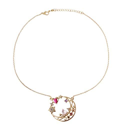 Zu Buch Figur Kostüm - ALTcompluser Mädchen Sailor Moon Halskette Anhänger, Schmuck Damen, Geburtstagsgeschenk, Kette Damen(Moon)