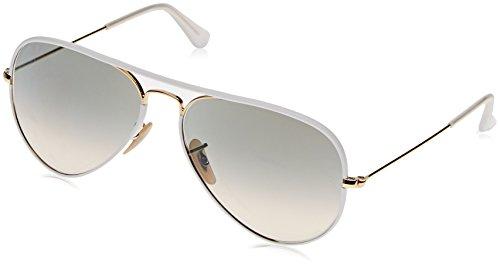 Ray-Ban Unisex Sonnenbrille Aviator Mehrfarbig (Gestell: Klar/Gold, Gläser: Hellgrau Verlauf 146/32), Large (Herstellergröße: 58)