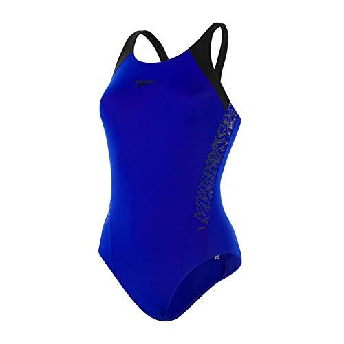 Speedo Damen Boom Splice Muscleback Badeanzug, Mehrfarbig (Chroma Blue/Black), 32 (6/28UK)