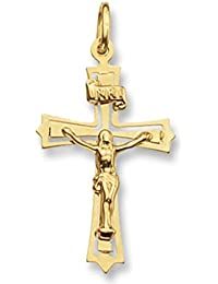 Mens 9ct Gold Flat Crucifix Pendant On A Curb Necklace