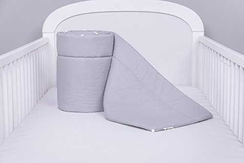 Amilian® Bettumrandung Nest Kopfschutz Nestchen 420x30cm, 360x30cm, 180x30 cm Bettnestchen Baby Kantenschutz Bettausstattung Einfarbig: Grau (420x30)