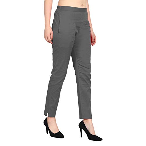 SriSaras Grey Women's Cotton Lycra Trousers/Pants (L)