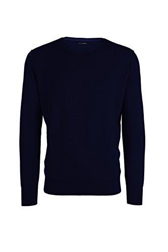 Adam - maglia da uomo in cotone-cashmere - girocollo con cuciture esterne nel giromanica (52 l it uomo, blu scuro melange)