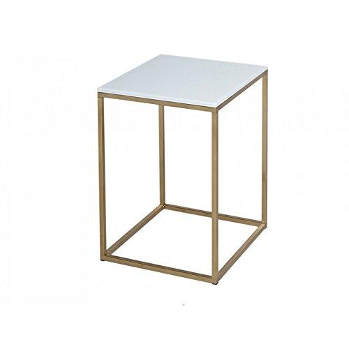 Gillmore Space Verre Blanc Table Basse carré d'Or métal Contemporain